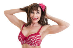 Beautiful Middle Aged Woman Portrait in Bathing Suit Stock Photos