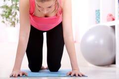 Beautiful middleaged woman doing fitness Stock Photo