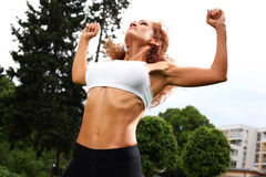 Beautiful middleaged woman working out Stock Image