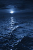 Beautiful Midnight Ocean View With Moonrise And Ca royalty free stock photos