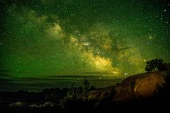 Beautiful Milky way shot at Arches National Park Utah USA. Astronomy site Utah low light pollution famous tourist spot. Beautiful Milky way shot at Arches royalty free stock photo