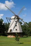 Beautiful mill in Ventspils, Latvia. Big white mill on field, Ventspils, Latvia royalty free stock photo