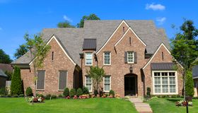 Beautiful Million Dollar Upper Class Suburban Home in Germantown, Tennessee. View of a million dollar upper class suburban home, located in the beautiful and Royalty Free Stock Image