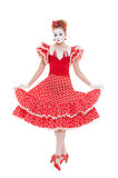 Beautiful mime in red dress Royalty Free Stock Image