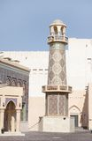 A beautiful minaret of ornamented mosque in Katara village, Qatar Stock Image