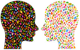 Beautiful mind. Illustration of colorful faces with black and white background royalty free illustration