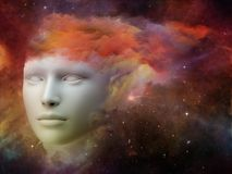 Beautiful Mind. Colorful Mind series. Backdrop composed of human head and fractal colors and suitable for use in the projects on mind, dreams, thinking Stock Images