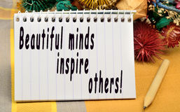 Beautiful minds inspire others royalty free stock photos