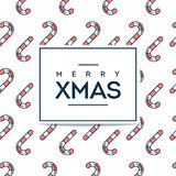Beautiful minimalistic Merry Xmas card with candy cane seamless Stock Photos