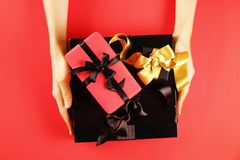 Close up shot of nice present on copy space background. stock images