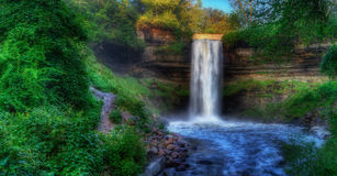 Beautiful Minnehaha Creek Waterfall in HDR High Dynamic Range Royalty Free Stock Photography