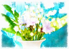 Beautiful miscellaneous flower in vase, computer Watercolor painting Royalty Free Stock Image