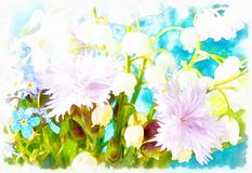 Beautiful miscellaneous flower, Watercolor painting, pc collage. Stock Photos