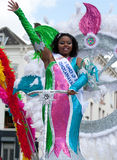 Beautiful miss in a summer carnaval parade Stock Photo