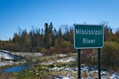 Beautiful Mississippi River flowing north near Itasca State Park in Minnesota. Mississippi River flowing north near its source at Itasca State Park in Minnesota stock images