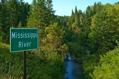 Beautiful Mississippi River flowing north near Itasca State Park in Minnesota stock photo