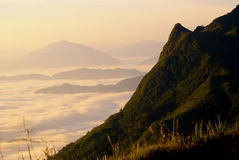 Beautiful mist layer mountain range, Chaing rai , Thailand. Royalty Free Stock Images