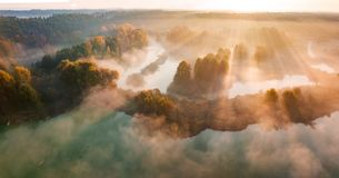 Beautiful Misty Dawn. Flying Above The Clouds, Aerial View Stock Photos