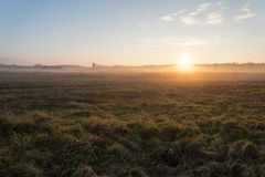 Beautiful misty meadow in the morning frost Royalty Free Stock Images