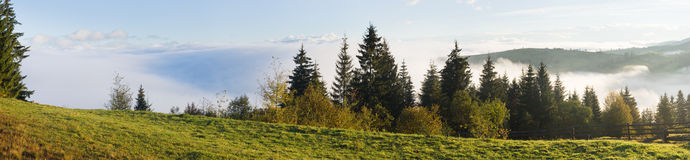 Beautiful misty morning. Beautiful misty autumn morning near Carpathian village outskirts (Carpathian mountain, Ukraine). Nine shots stitch image Royalty Free Stock Photo