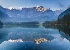 Beautiful misty morning on an alpine lake stock photography