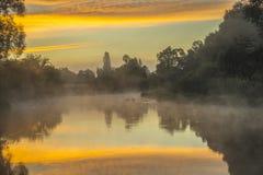 Beautiful misty morning on river stock photo