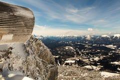 Beautiful mittenwald village and karwendel. Mountains, in winter Stock Image