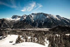 Beautiful mittenwald village and karwendel. Mountains, in winter Royalty Free Stock Photography