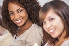 Beautiful Mixed Race African American Girl & Chinese Asian Frien Stock Photography