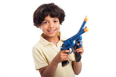 Beautiful Mixed Race Boy Playing with Toy Guns. Isolated on white studio background Royalty Free Stock Image