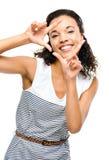Beautiful mixed race Woman framing photograph fingers Royalty Free Stock Image