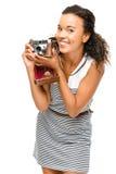 Beautiful mixed race Woman photograher vintage camera portrait i stock image