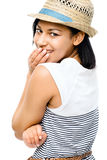 Beautiful mixed race woman smiling isolated on white background. Beautiful mixed race woman smiling stock image