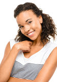 Beautiful mixed race Woman smiling portrait isolated on white ba Royalty Free Stock Photography
