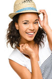 Beautiful mixed race Woman smiling portrait isolated on white ba Royalty Free Stock Image