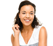 Beautiful mixed race Woman smiling portrait isolated on white ba Stock Image
