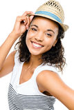Beautiful mixed race Woman smiling portrait isolated on white stock images