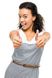 Beautiful mixed race Woman smiling thumbs up isolated on white b Stock Images