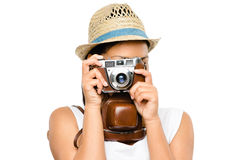 Beautiful mixed race woman taking photograph vintage camera isol Royalty Free Stock Images