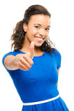 Beautiful mixed race woman thumbs up isolated on white backgroun. Beautiful mixed race girly in sexy blue dress showing thumbs up Royalty Free Stock Image