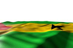 Beautiful mockup picture of Sao Tome and Principe flag lying with perspective view isolated on white with space for your text -. Nice holiday flag 3d stock illustration