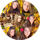 Beautiful model with autumn leaves and fall yellow garden backgr Stock Image