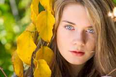Beautiful model with autumn leaves and fall yellow garden backgr Stock Photos