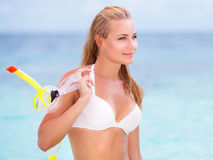 Beautiful model on the beach Royalty Free Stock Photos