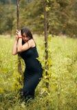 Beautiful model in black Stock Photos