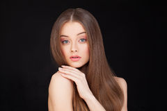 Beautiful Model on Black Background. Makeup and Hair Royalty Free Stock Image