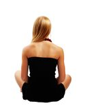 Beautiful model in black dress. View of beautiful model in black dress from back isolated white background Stock Images