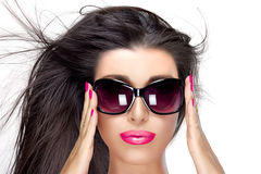 Beautiful Model in Black Fashion Sunglasses. Bright Makeup and M Stock Image