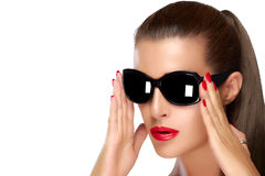 Beautiful Model in Black Fashion Sunglasses. Bright Makeup and M Stock Photography