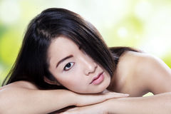 Beautiful model with black hair and natural skin Royalty Free Stock Photos